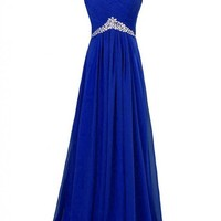 MISSYDRESS Tulle Beaded Bridesmaid Evening Party Prom Ball Gown Dress20-Blue Size14
