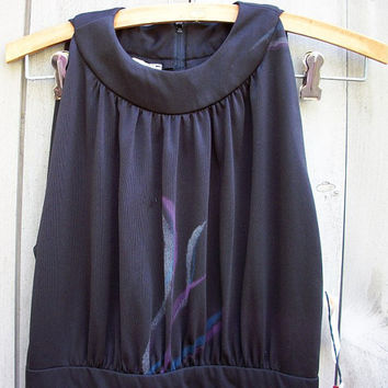 Vintage dress - Deadstock 1970s black sleeveless evening gown with original tags