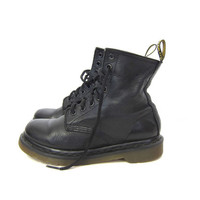 Doc Martens Combat Ankle Boots Black Leather Chunky Grunge 90s Dr Martens 8 Holes Lace Up Distressed Army Boots Women's SIZE USA 6