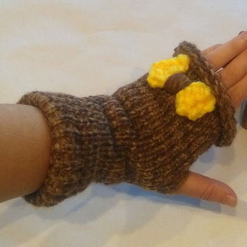 Fingerless Gloves, Arm Warmers, finger gloves, gloves with yellow bow, Brown gloves