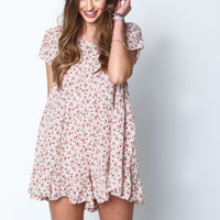 Pink Floral Tiered Ruffle Romper