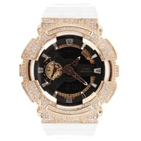 Men's GA110RG G Shock Rose Gold Bezel Watch White Band