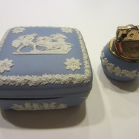 Wedgwood Blue Bass Relief Table Lighter Jewelry Box Hand Decorated