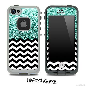 Mixed Aqua Green Glimmer and Chevron Pattern Skin for the iPhone 5 or 4/4s LifeProof Case