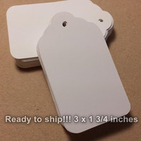 100  Large White Tags With Holes, Scallop White Tag, DIY Wedding Tag, Blank White Tag, Favor Tag, 3 inches