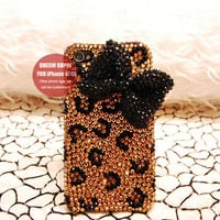 Leopard phone cover black bow phone case for iPhone4/4S or iPhone 5 case