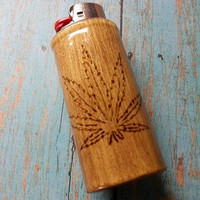 Engraved Pot Leaf Lighter Case, Marijuana Leaf, Weed Leaf, Hemp Leaf, Lighter Holder, Lighter Sleeve