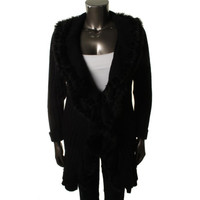 Alfani Womens Ribbed Faux Fur Cardigan Sweater
