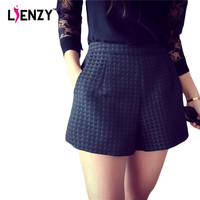 LIENZY 2016 Summer Casual Women Plaid Shorts High Waist 3D Solid Loose Beach Large Size Candy Womens Shorts for Holiday