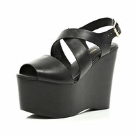 Black cross over strap extreme flatforms - wedges - shoes / boots - women