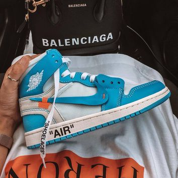 shosouvenir : NIKE OFF-WHITE x Jordan 1 Powder Blue OW AJ1 North Carolina basketball shoes