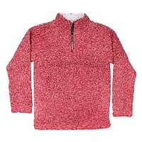 Softest Tip Shearling 1/4 Zip Pullover in Barn Red by True Grit