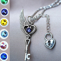 My Gem Key and Lock Necklace