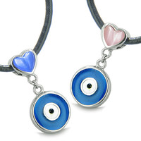 Evil Eye Charms Reversible Double Lucky Love Couple Royal Blue Pink Cats Eye Pendant Necklaces