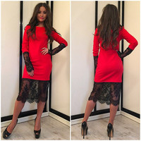 Red Long Sleeve Floral Lace Accent Midi Dress