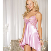 Charmeuse & Lace Chemise W-criss Cross Adjustable Straps Pink Icing Lg