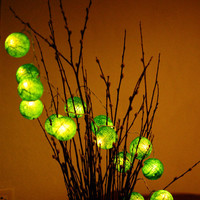 20 x romantic handmade Green color cotton ball string light lantern decoration patio home beach bedroom deco living room deco family house