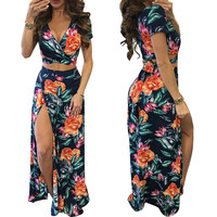 V-neck Side Split Two Pieces Set