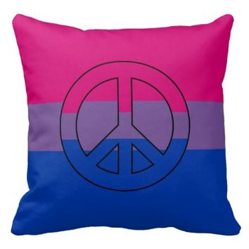 Bisexuality flag peace sign throw pillow