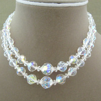 Aurora Borealis Crystal Double Strand by ChickenLittleJewelry