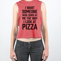 pizza look-Female Heather Red Tank