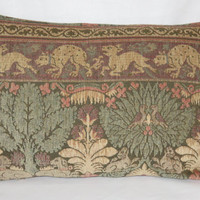 "Medieval Scenic Tapestry Chenille Pillow in a 14 x 20"" Rectangle with Dogs Birds & Trees in Beige Green Coral Peach Brown, Ready to Ship"
