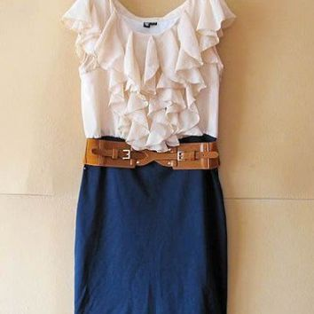 Women Scoop Layers Cap Sleeve Column or sheath Mini Length Blue Chiffon and Knitting Skirt S/M/L@II0097bl $26.99 only in eFexcity.com.