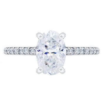 Skinny Oval Crushed Ice Moissanite 4 Prongs Diamond Accent Ice Cathedral Solitaire Ring