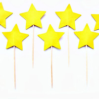 10 Yellow Star Cupcake Toppers - wedding, engagement, birthday, baby shower, tea party