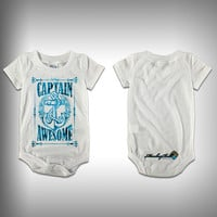 Monksies™ Custom Print One Piece Baby Body Suit (Onsies) - Captain Awesome