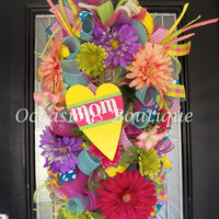 Spring Mother's Day Wreath, Spring Wreath, Summer Wreath, Gift for Mom, Mother's day Gift's, Spring Door Swag, Made to Order