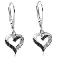 Black and White Diamond Heart Lever-Back Earrings in Sterling Silver