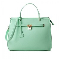 ZLCY Fashion Ladies Mint Green Leather Handbag for Women