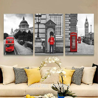 3 Piece Hot Sell Modern Soldiers stand guard Painting London Telephone Booth Home Decorative Art Picture Paint on Canvas T/725