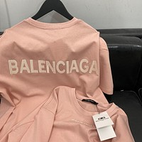 Balenciaga pink embroidered letter loose round neck half-sleeved T-shirt