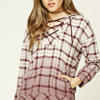 Plaid Flannel Lace-Up Hoodie