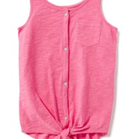 Slub-Knit Button-Front Tank for Girls | Old Navy