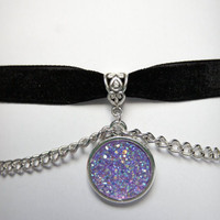 Light Purple Drusy Velvet Choker, Chains, Shining, Holographic, SParkling, Pastel Goth, Nu goth, Kawaii, Harajuku, Cabochons,