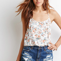 Crocheted Floral Print Halter Top