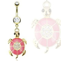"""Belly Button Ring Gold IP Over 316L Surgical Steel Pink Epoxy Paved Gem Turtle Navel Ring Dangle Body Jewelry 14g 3/8"""" HO790"""