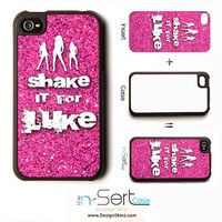 """NEW Pink Sparkly """"Shake It For Luke"""" n-Sert iPhone 4, 4s, 5 Case with Changeable Inserts"""