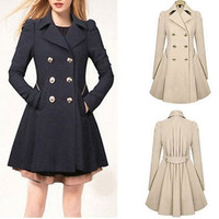 New Fashion Women Double-breasted Slim Fit Long Outwear Trench Coat = 1929914180