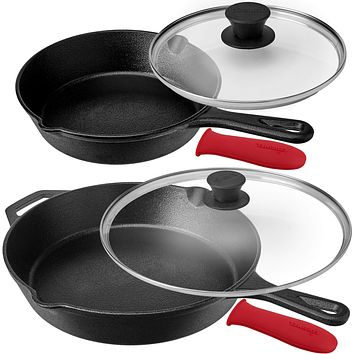 """Pre-Seasoned Cast Iron Skillet Set (8-Inch and 12-Inch) with Glass Lids - Oven Safe Cookware - Heat-Resistant Holders - Indoor and Outdoor Use - Grill, Stovetop, Induction Safe 8""""+12"""" w/ Glass Lids"""