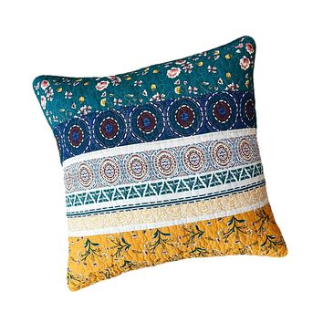 """DaDa Bedding Bohemian Patchwork Bed of Wild Flowers Floral Gardenia Euro Pillow Sham Cover, 26"""" x 26"""" (JHW886)"""