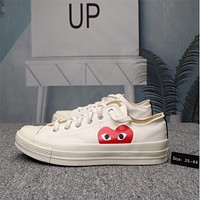 CONVE Rei Kawakubo CDG PLAY Joint Conve 1970s Canvas Shoes Women Love Low Top Sneakers