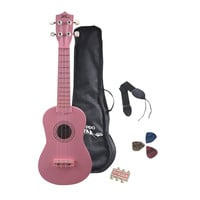 Pyle PGAKT10PK Soprano Ukulele Pink Starter Package Mini Guitar W/Accessories