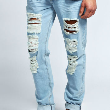 Light Wash Ripped Slim Fit Jeans