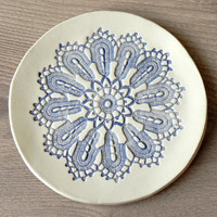 Rustic Ceramic Plate Blue  Lace Soap Dish Flat Serving Plate Spoon Rest