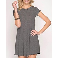 Cap Sleeve Striped Ribbed Swing Dress with Merrow Detail in More Colors
