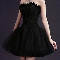 Black Strapless Frill Sweetheart Lace Overlay Homecoming Dress
